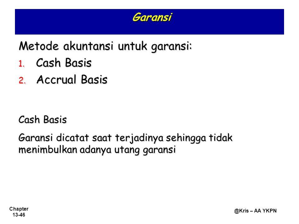 Metode akuntansi untuk garansi: Cash Basis Accrual Basis
