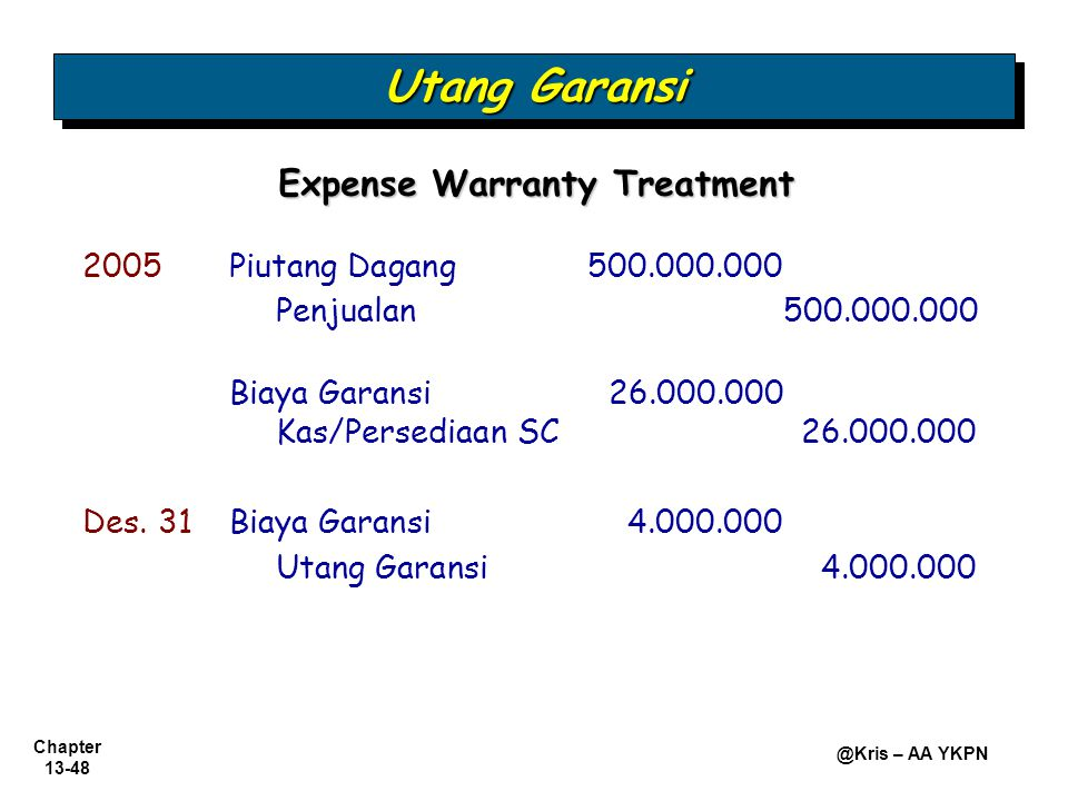Expense Warranty Treatment