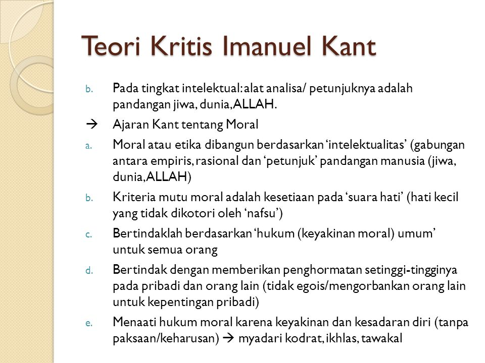 Teori Kritis Imanuel Kant