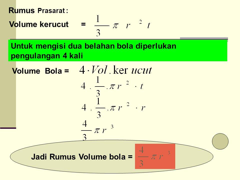 Jadi Rumus Volume bola =