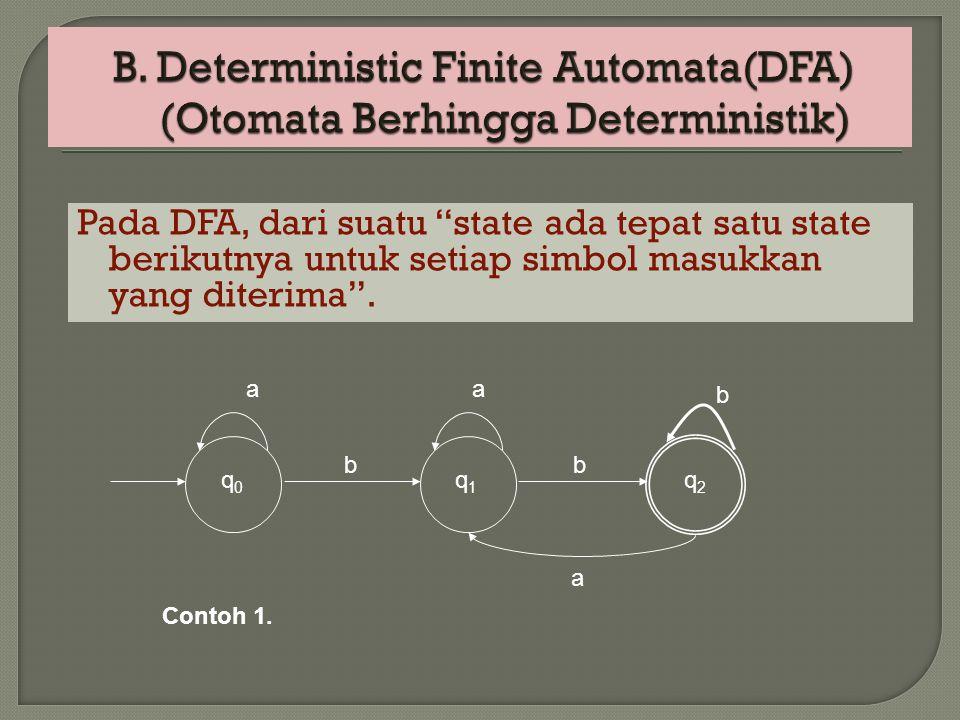 B. Deterministic Finite Automata(DFA) (Otomata Berhingga Deterministik)