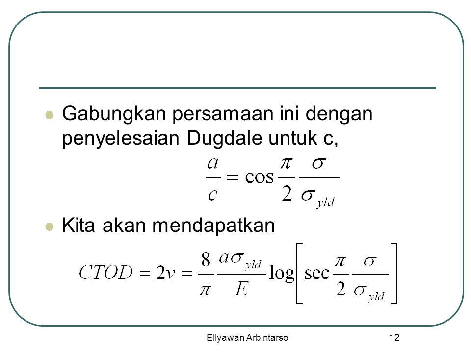 Gabungkan persamaan ini dengan penyelesaian Dugdale untuk c,