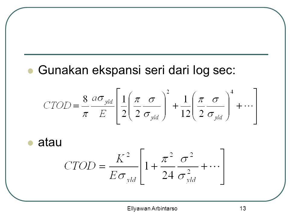Gunakan ekspansi seri dari log sec: