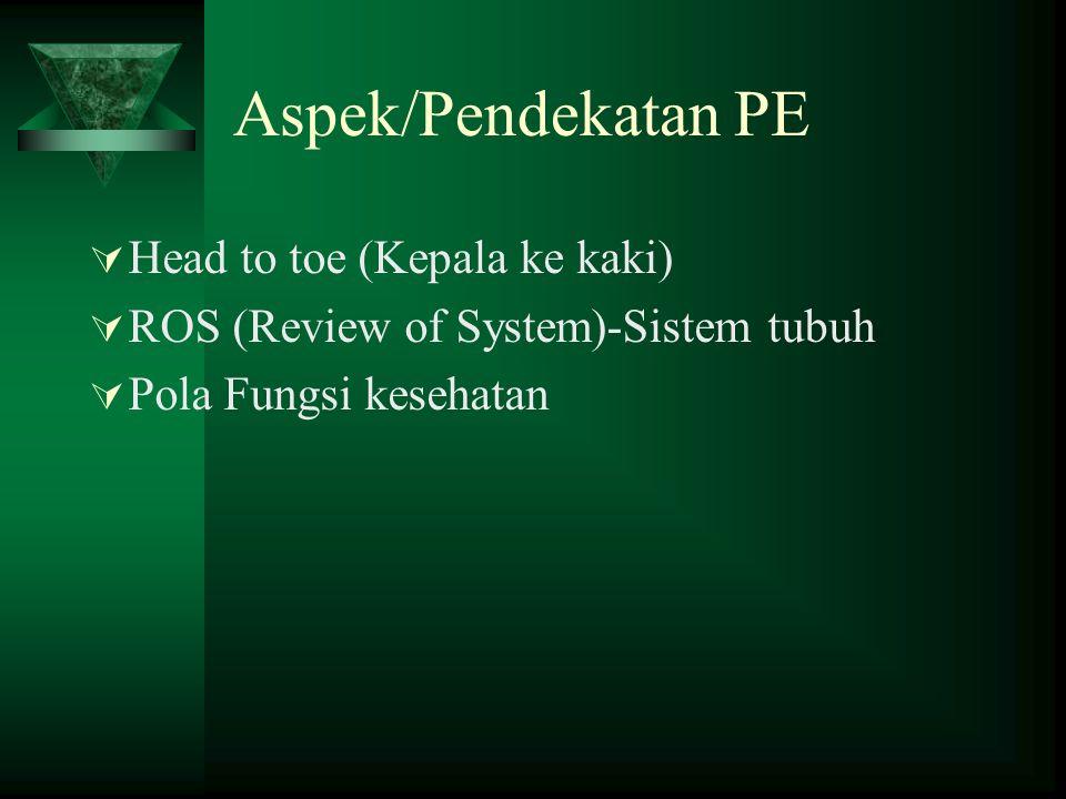 Aspek/Pendekatan PE Head to toe (Kepala ke kaki)