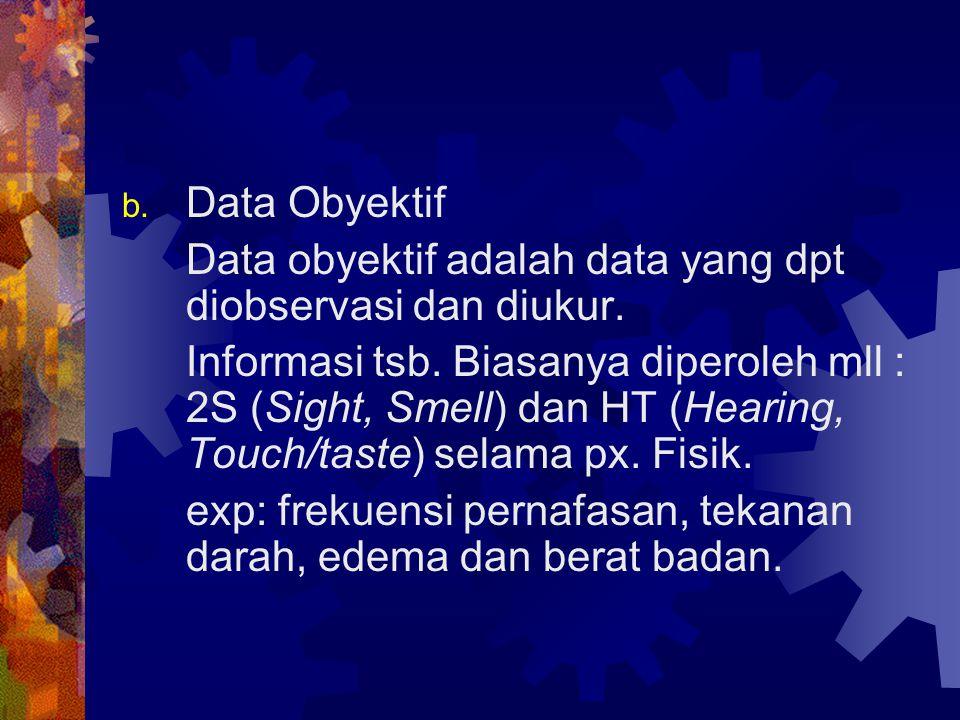 Data Obyektif Data obyektif adalah data yang dpt diobservasi dan diukur.