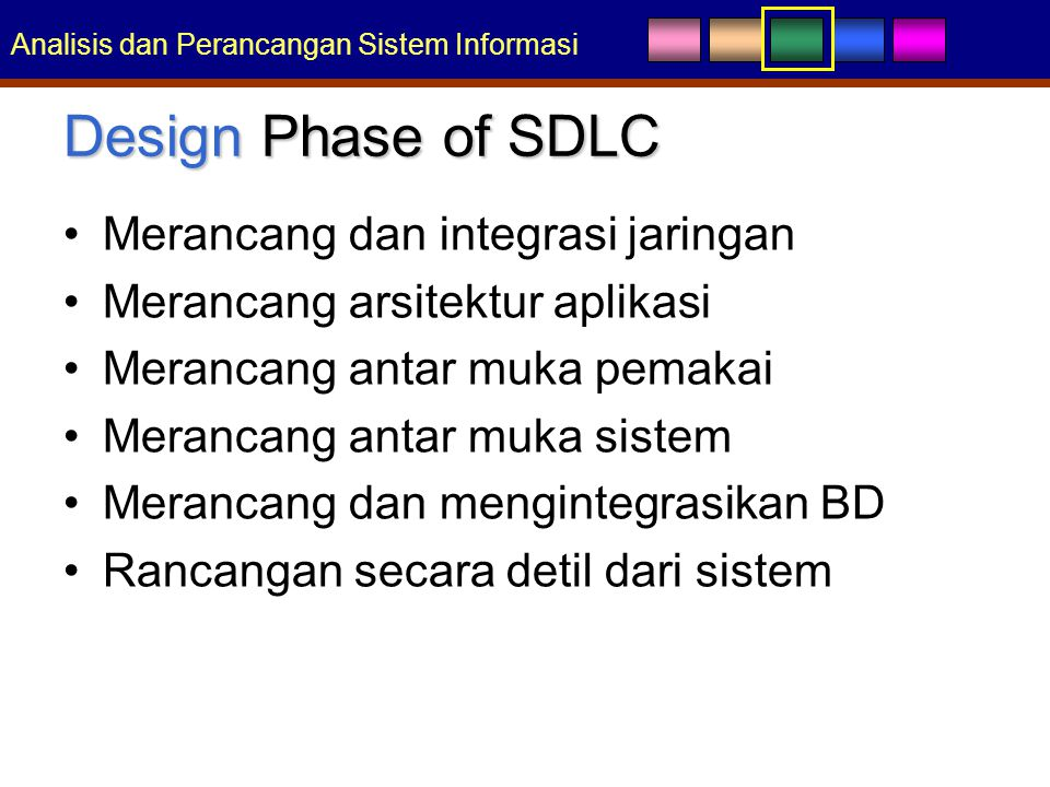 Design Phase of SDLC Merancang dan integrasi jaringan