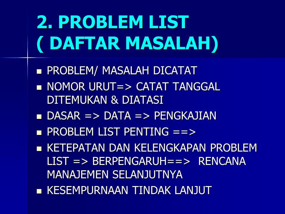 2. PROBLEM LIST ( DAFTAR MASALAH)