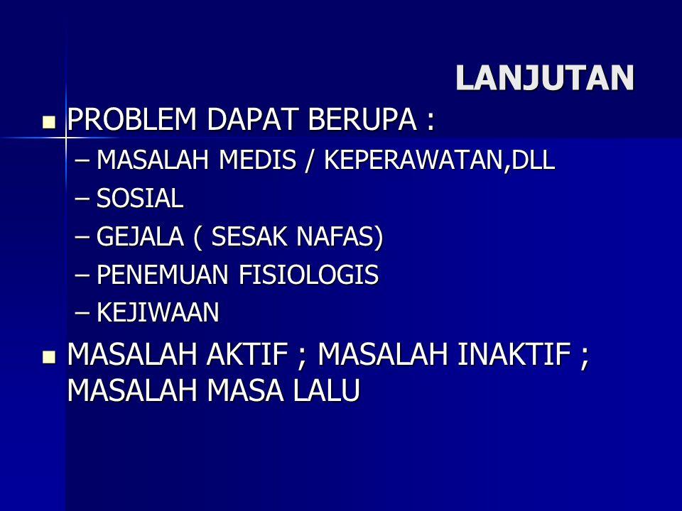 LANJUTAN PROBLEM DAPAT BERUPA :