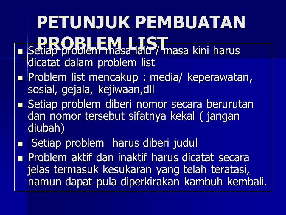 PETUNJUK PEMBUATAN PROBLEM LIST