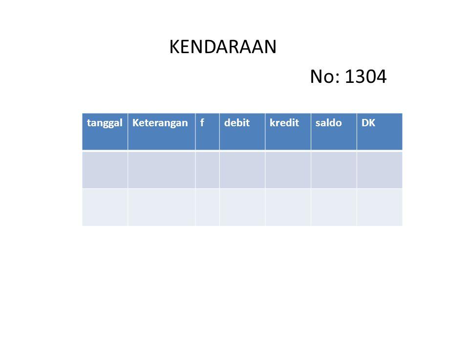 KENDARAAN No: 1304 tanggal Keterangan f debit kredit saldo DK