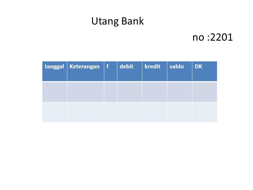 Utang Bank no :2201 tanggal Keterangan f debit kredit saldo DK
