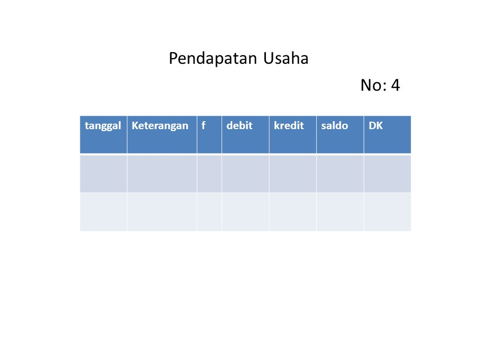 Pendapatan Usaha No: 4 tanggal Keterangan f debit kredit saldo DK