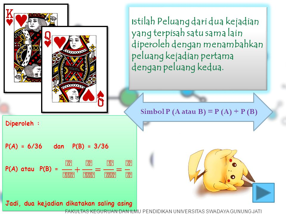 Simbol P (A atau B) = P (A) + P (B)