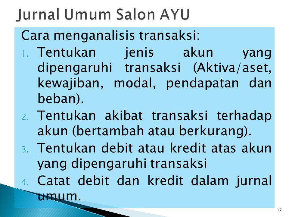 Jurnal Umum Salon AYU Cara menganalisis transaksi: