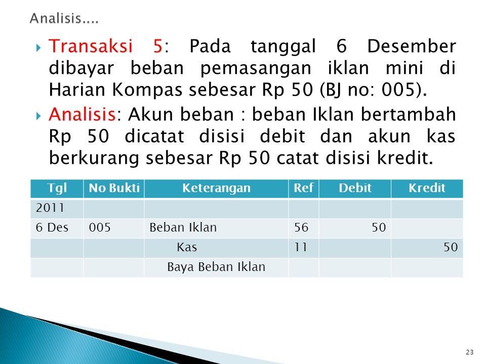 Analisis.... Transaksi 5: Pada tanggal 6 Desember dibayar beban pemasangan iklan mini di Harian Kompas sebesar Rp 50 (BJ no: 005).
