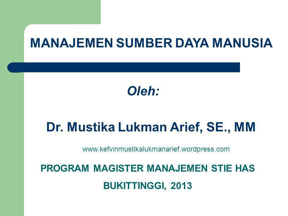 MANAJEMEN SUMBER DAYA MANUSIA Oleh: Dr. Mustika Lukman Arief, SE., MM
