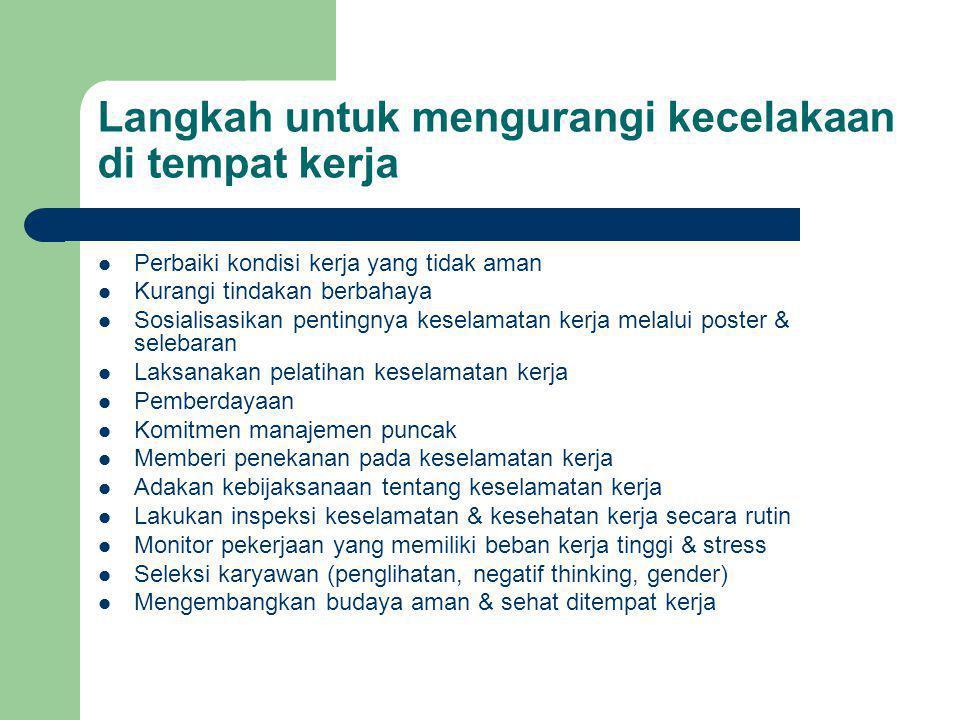Langkah untuk mengurangi kecelakaan di tempat kerja