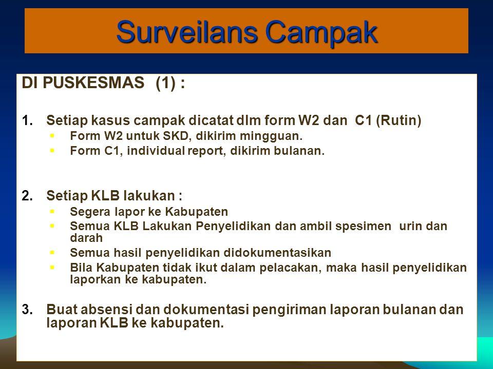 Surveilans Campak DI PUSKESMAS (1) :