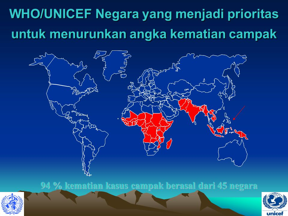 94 % kematian kasus campak berasal dari 45 negara