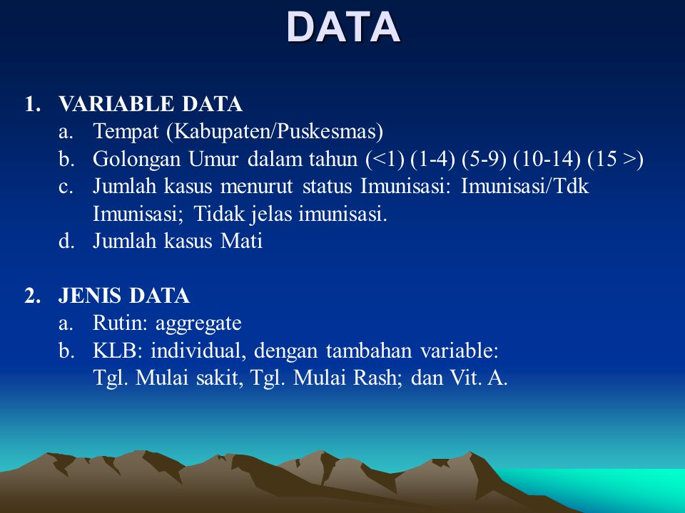 DATA VARIABLE DATA Tempat (Kabupaten/Puskesmas)