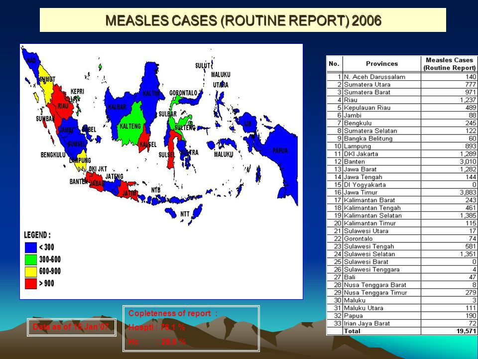 MEASLES CASES (ROUTINE REPORT) 2006