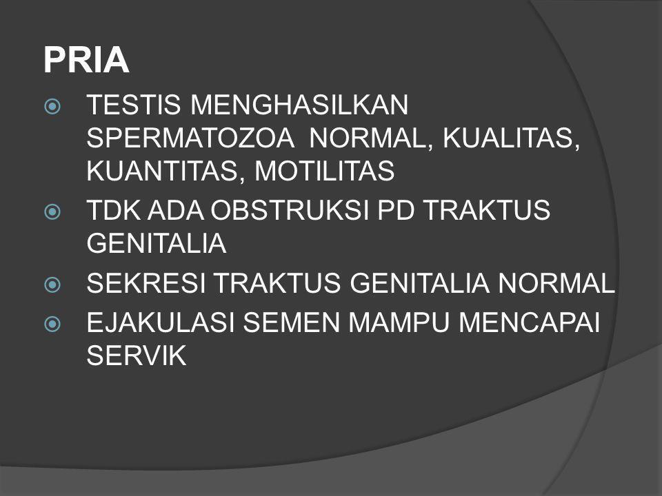 PRIA TESTIS MENGHASILKAN SPERMATOZOA NORMAL, KUALITAS, KUANTITAS, MOTILITAS. TDK ADA OBSTRUKSI PD TRAKTUS GENITALIA.