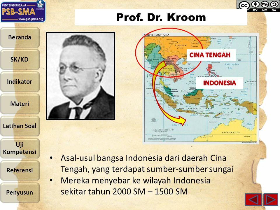 Prof. Dr. Kroom CINA TENGAH. INDONESIA. Asal-usul bangsa Indonesia dari daerah Cina Tengah, yang terdapat sumber-sumber sungai.