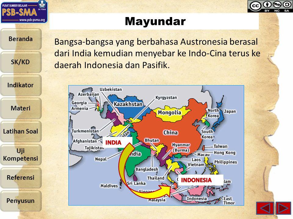 Mayundar Bangsa-bangsa yang berbahasa Austronesia berasal dari India kemudian menyebar ke Indo-Cina terus ke daerah Indonesia dan Pasifik.