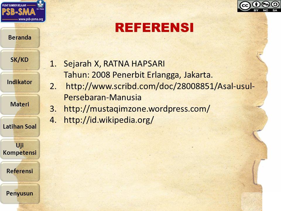 REFERENSI Sejarah X, RATNA HAPSARI Tahun: 2008 Penerbit Erlangga, Jakarta. http://www.scribd.com/doc/28008851/Asal-usul-Persebaran-Manusia.