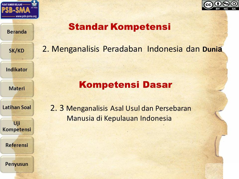Standar Kompetensi 2. Menganalisis Peradaban Indonesia dan Dunia. Kompetensi Dasar.