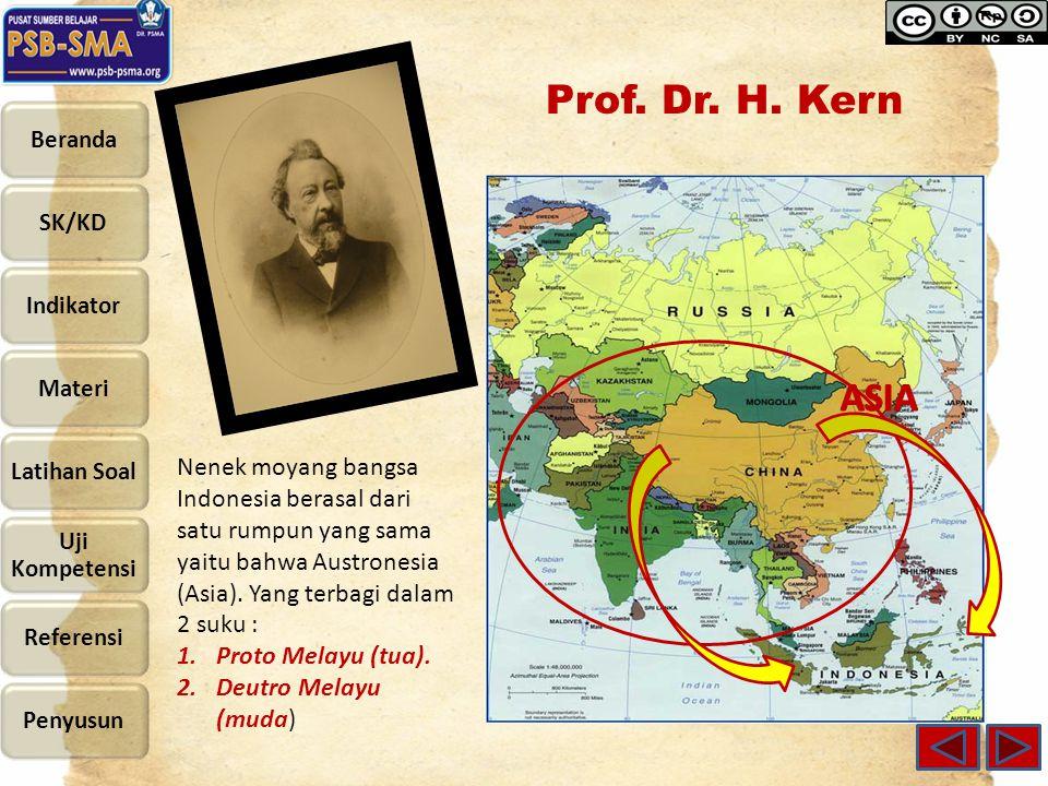 Prof. Dr. H. Kern ASIA. Nenek moyang bangsa Indonesia berasal dari satu rumpun yang sama yaitu bahwa Austronesia (Asia). Yang terbagi dalam 2 suku :