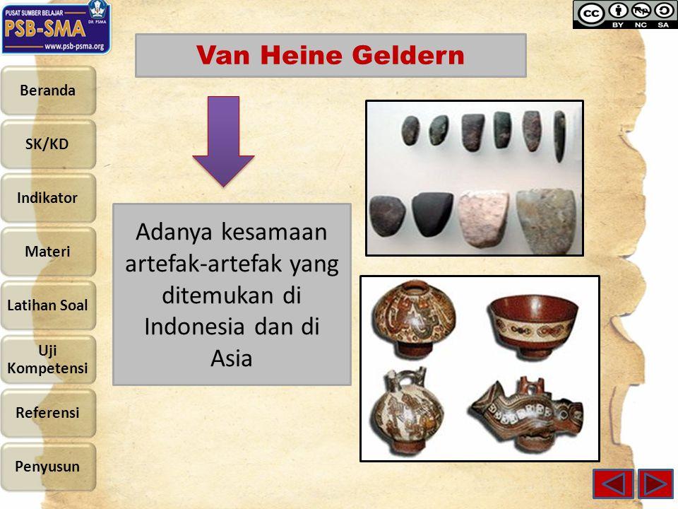 Van Heine Geldern Adanya kesamaan artefak-artefak yang ditemukan di Indonesia dan di Asia
