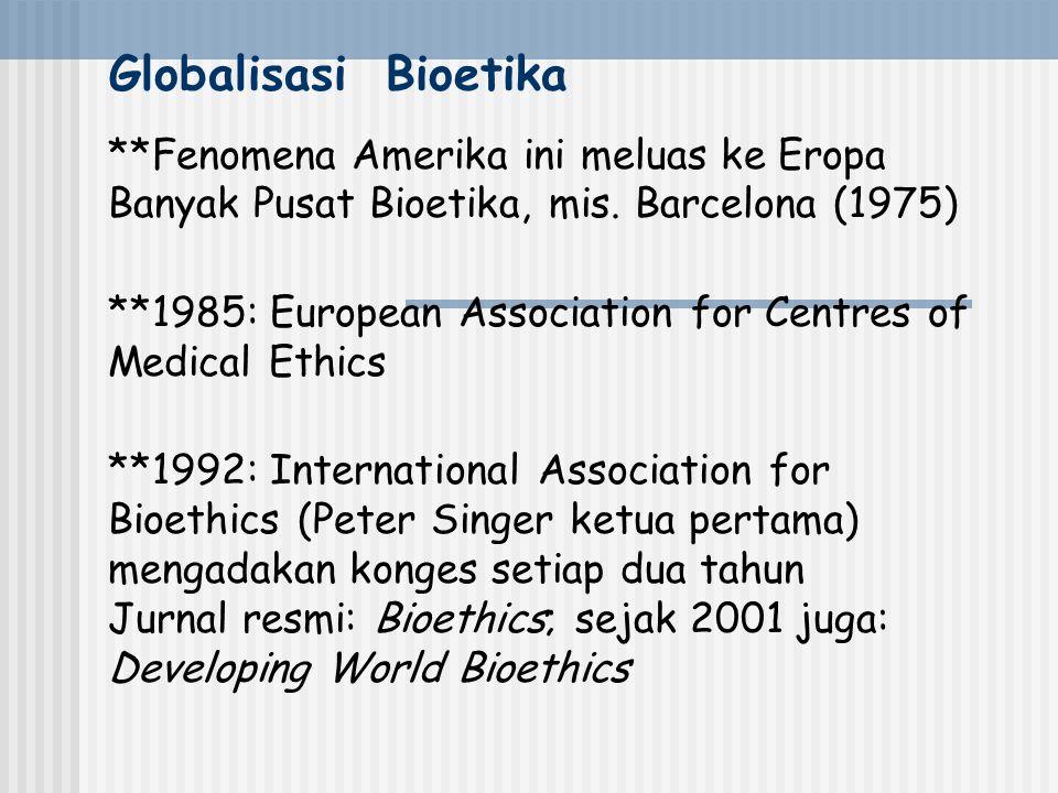 Globalisasi Bioetika **Fenomena Amerika ini meluas ke Eropa Banyak Pusat Bioetika, mis. Barcelona (1975)