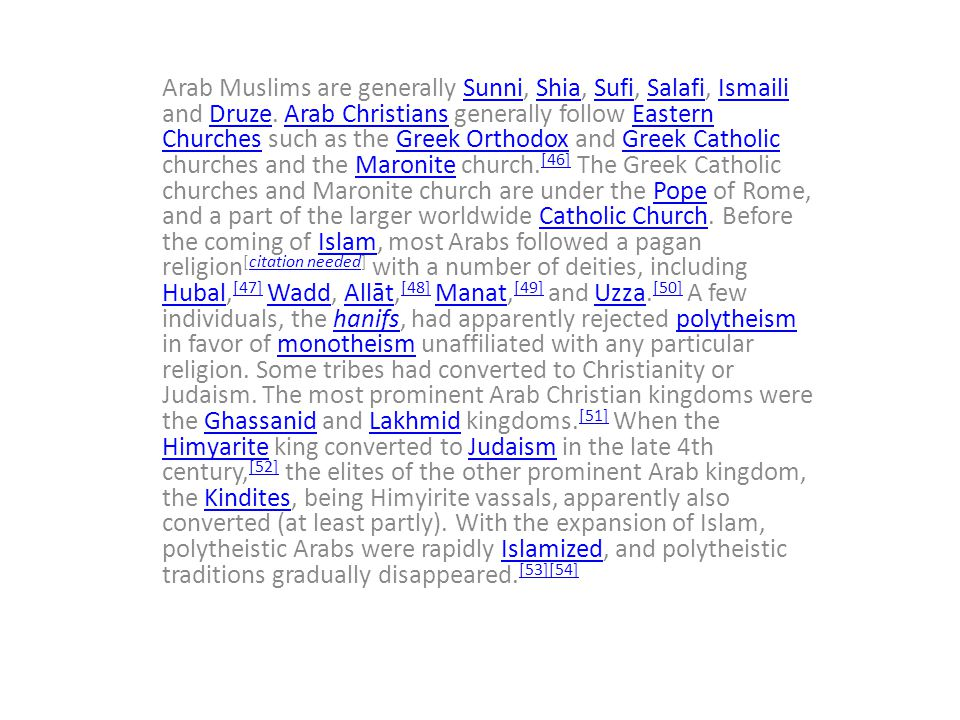 Arab Muslims are generally Sunni, Shia, Sufi, Salafi, Ismaili and Druze.
