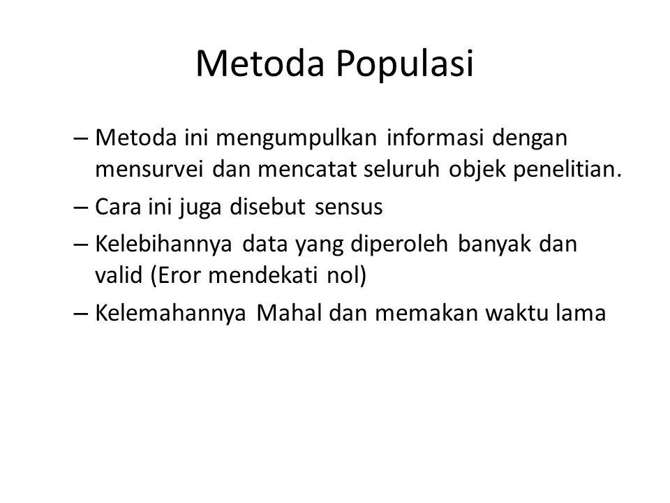 Metoda Populasi Metoda ini mengumpulkan informasi dengan mensurvei dan mencatat seluruh objek penelitian.