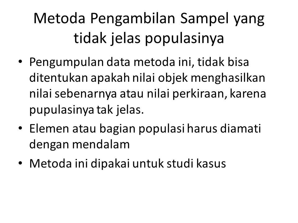 Metoda Pengambilan Sampel yang tidak jelas populasinya