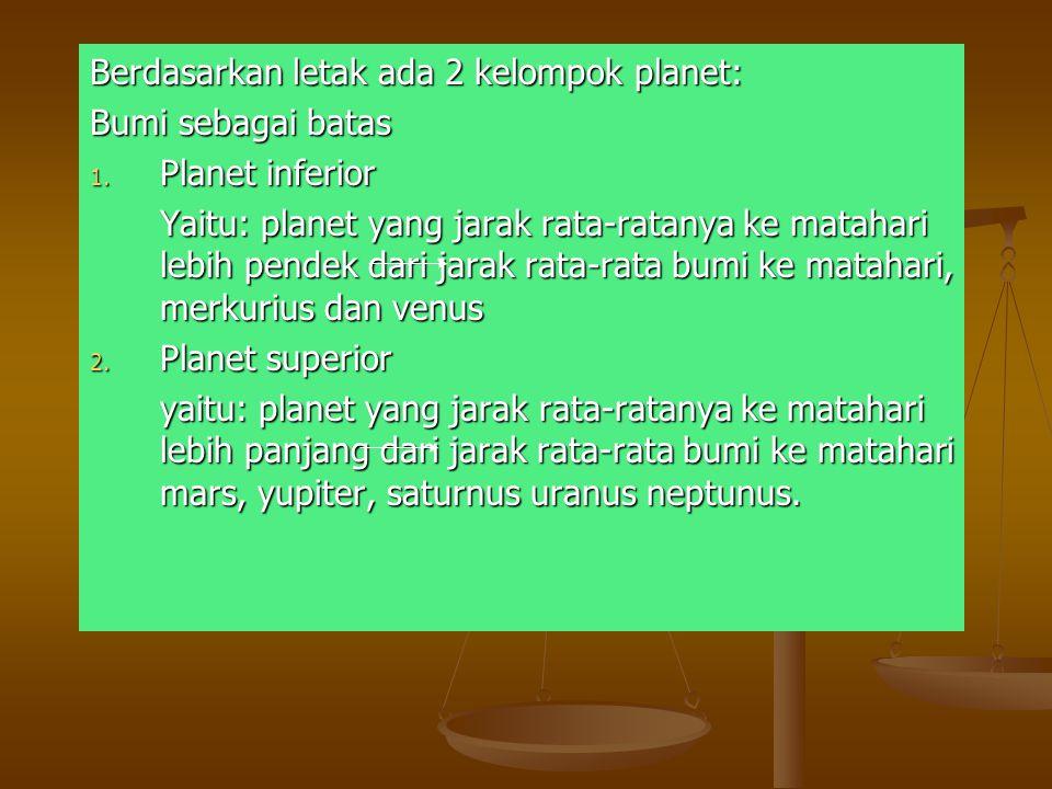 Berdasarkan letak ada 2 kelompok planet:
