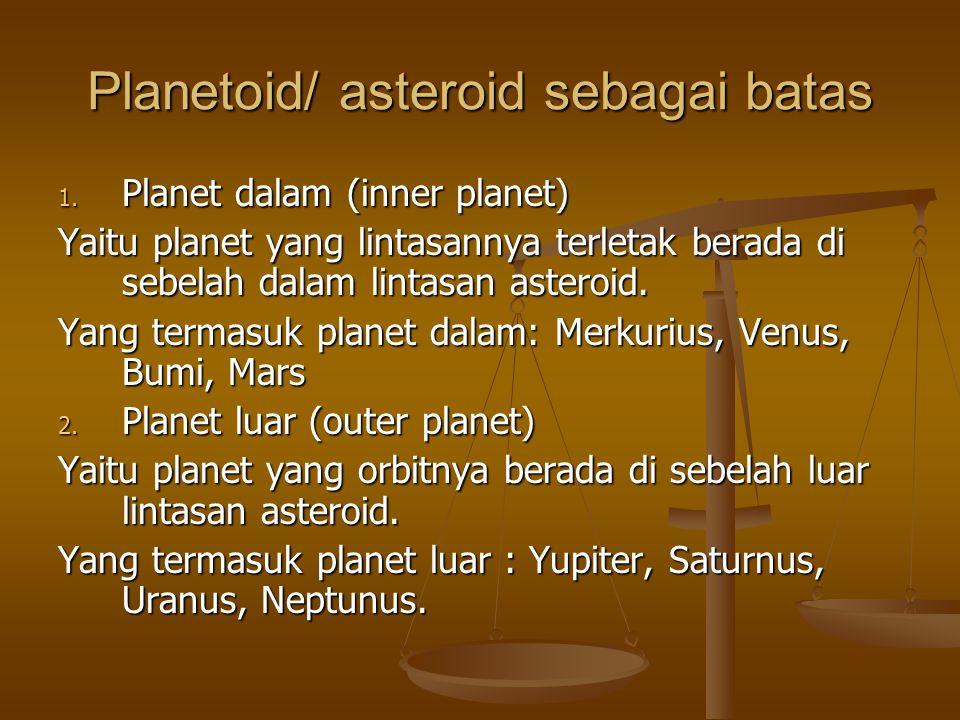 Planetoid/ asteroid sebagai batas