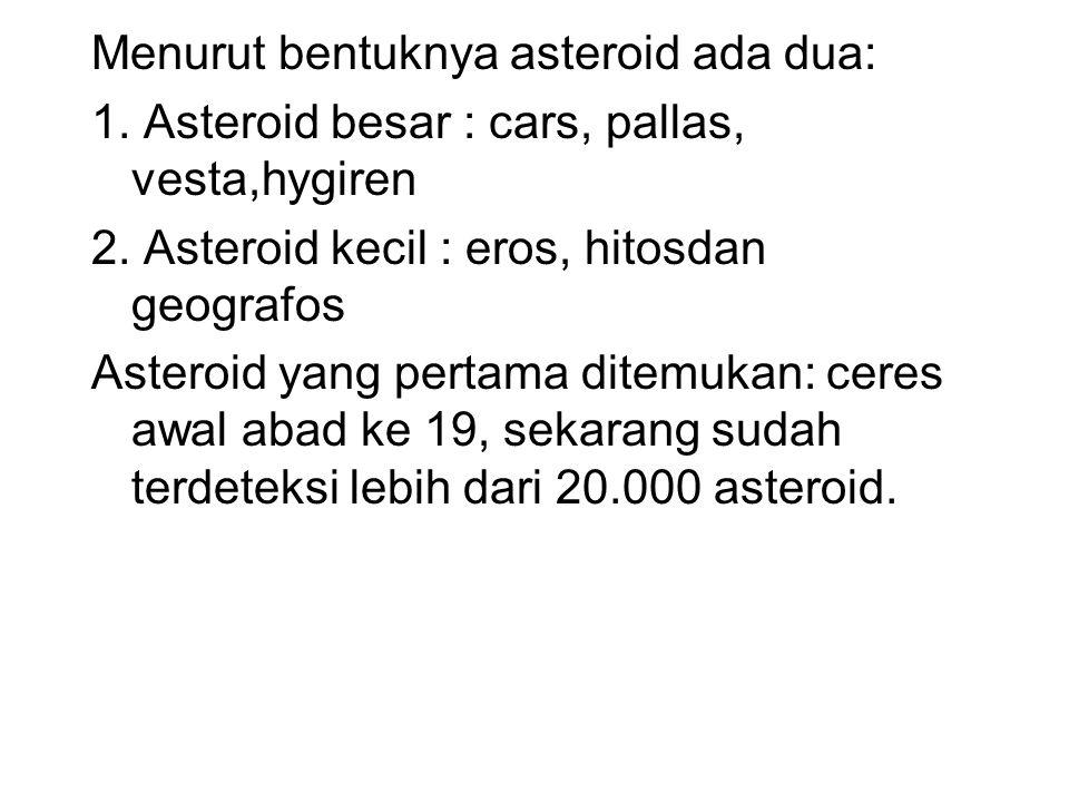 Menurut bentuknya asteroid ada dua: