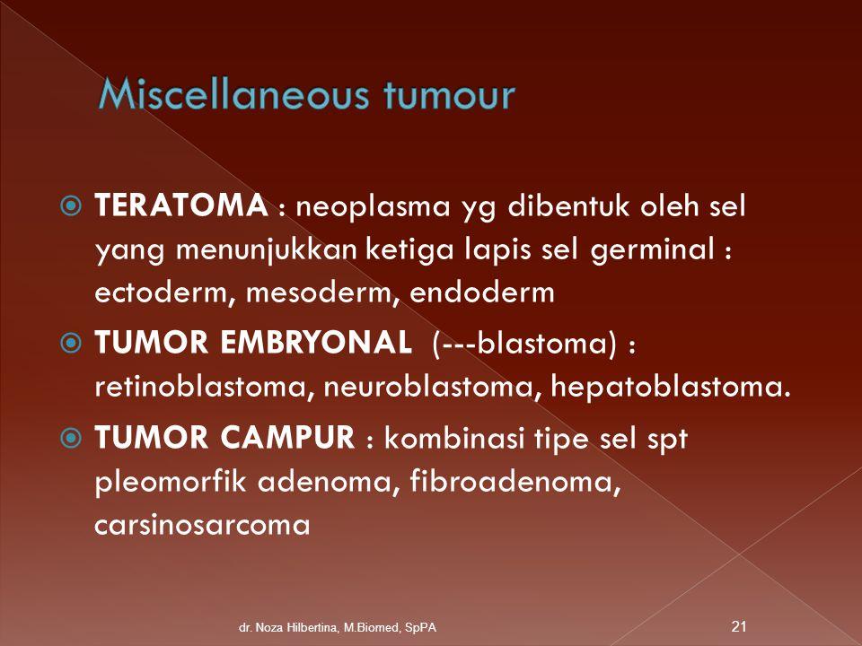 Miscellaneous tumour TERATOMA : neoplasma yg dibentuk oleh sel yang menunjukkan ketiga lapis sel germinal : ectoderm, mesoderm, endoderm.