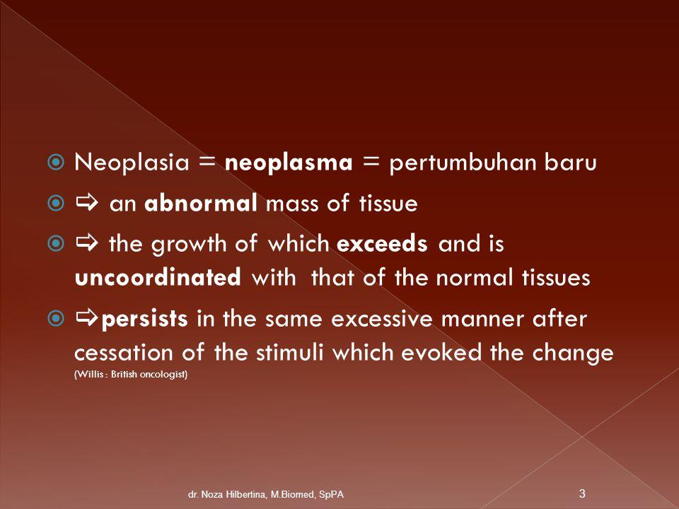 Neoplasia = neoplasma = pertumbuhan baru  an abnormal mass of tissue