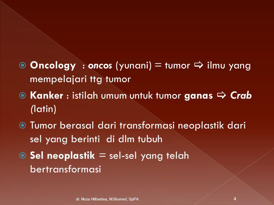 Oncology : oncos (yunani) = tumor  ilmu yang mempelajari ttg tumor