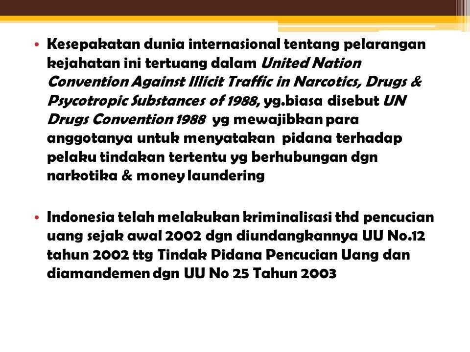 Kesepakatan dunia internasional tentang pelarangan kejahatan ini tertuang dalam United Nation Convention Against Illicit Traffic in Narcotics, Drugs & Psycotropic Substances of 1988, yg.biasa disebut UN Drugs Convention 1988 yg mewajibkan para anggotanya untuk menyatakan pidana terhadap pelaku tindakan tertentu yg berhubungan dgn narkotika & money laundering