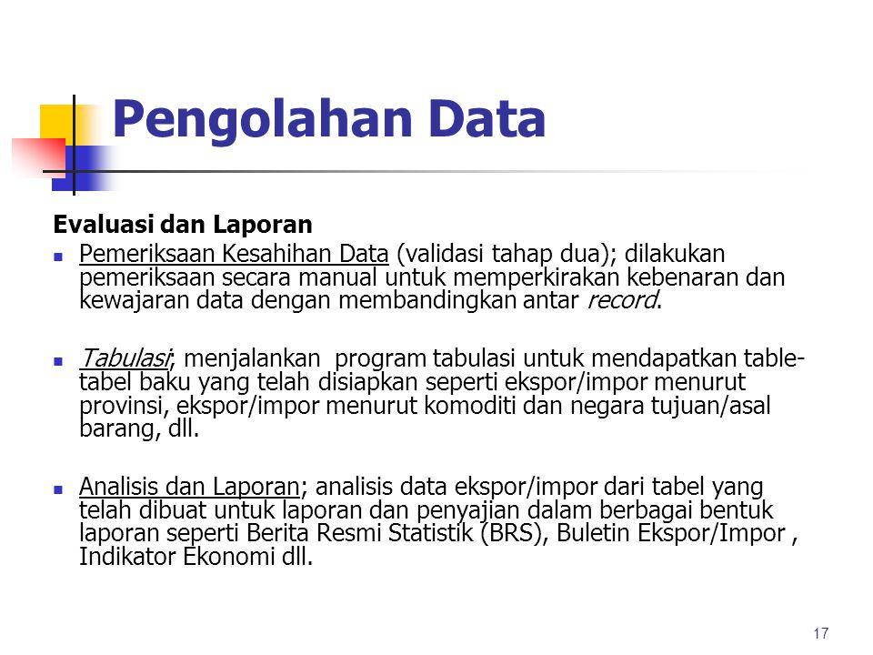 Pengolahan Data Evaluasi dan Laporan