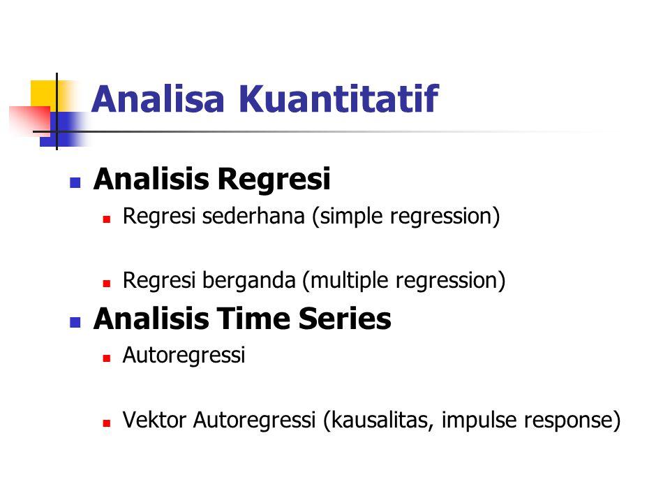 Analisa Kuantitatif Analisis Regresi Analisis Time Series
