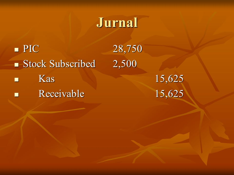 Jurnal PIC 28,750 Stock Subscribed 2,500 Kas 15,625 Receivable 15,625
