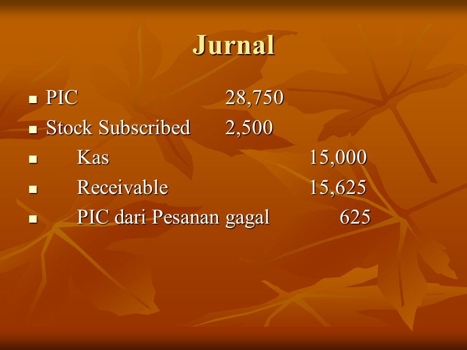 Jurnal PIC 28,750 Stock Subscribed 2,500 Kas 15,000 Receivable 15,625