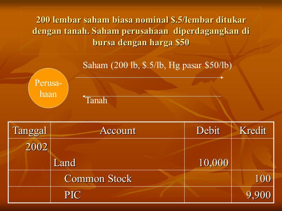 Tanggal Account Debit Kredit 2002 Land 10,000 Common Stock 100 PIC