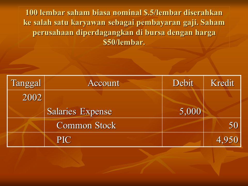Tanggal Account Debit Kredit 2002 Salaries Expense 5,000 Common Stock