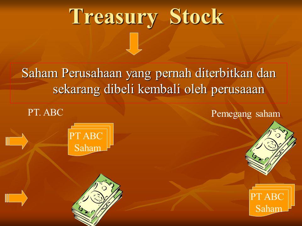 Treasury Stock Saham Perusahaan yang pernah diterbitkan dan sekarang dibeli kembali oleh perusaaan.